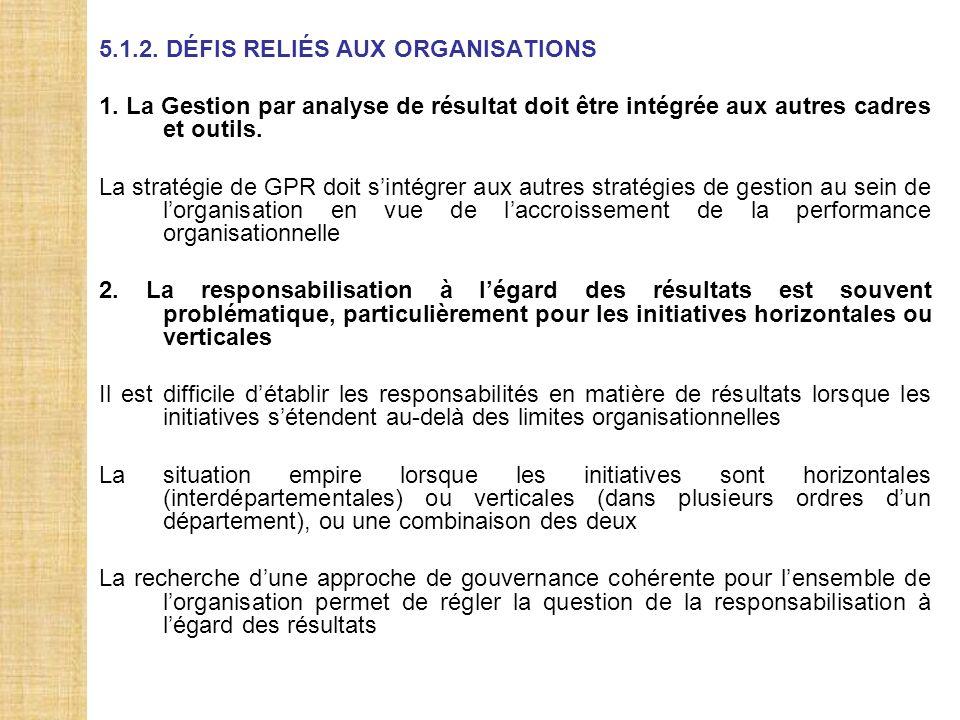 5.1.2. DÉFIS RELIÉS AUX ORGANISATIONS