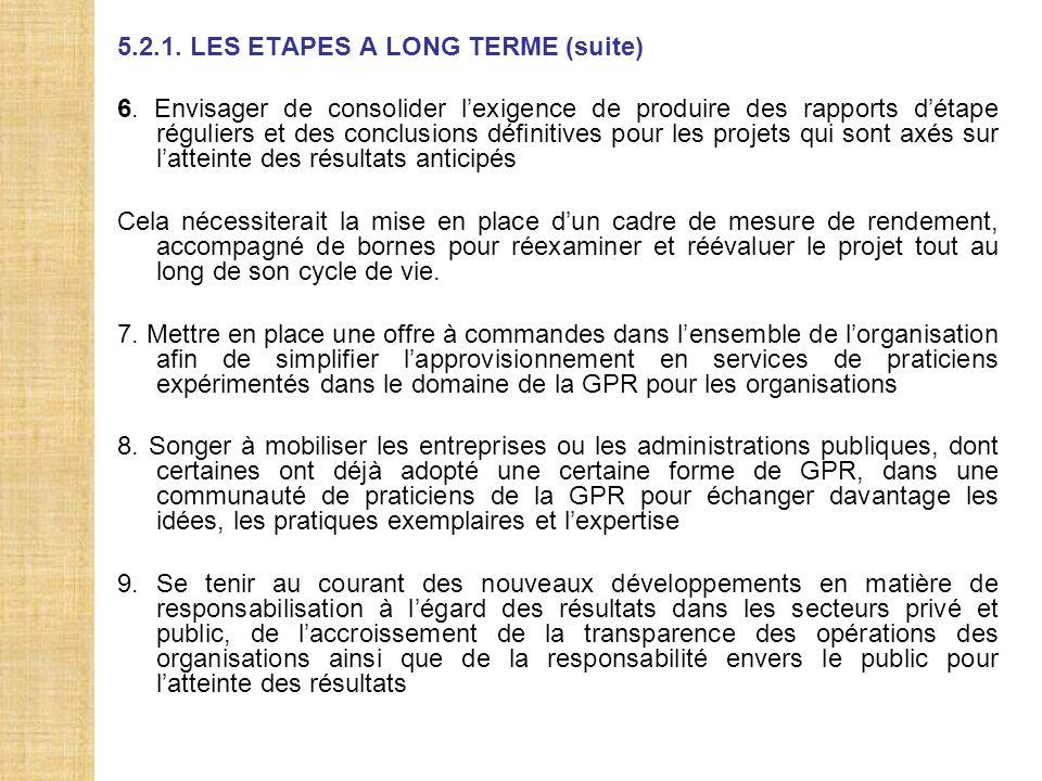 5.2.1. LES ETAPES A LONG TERME (suite)
