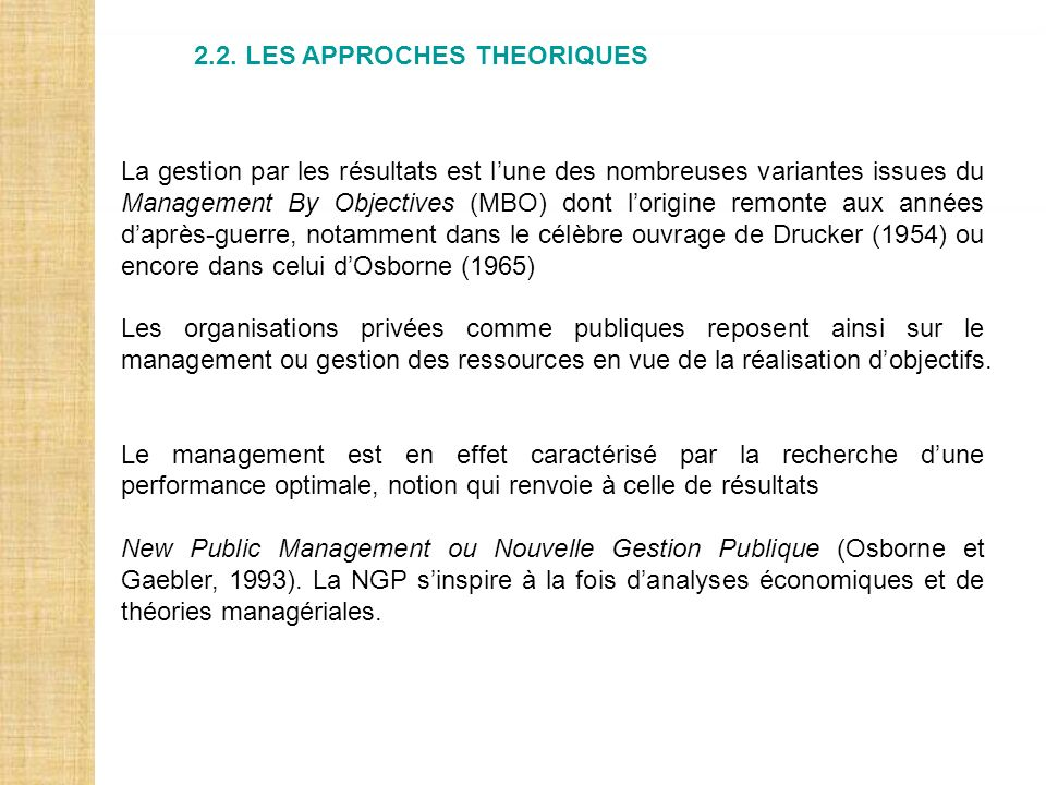 2.2. LES APPROCHES THEORIQUES