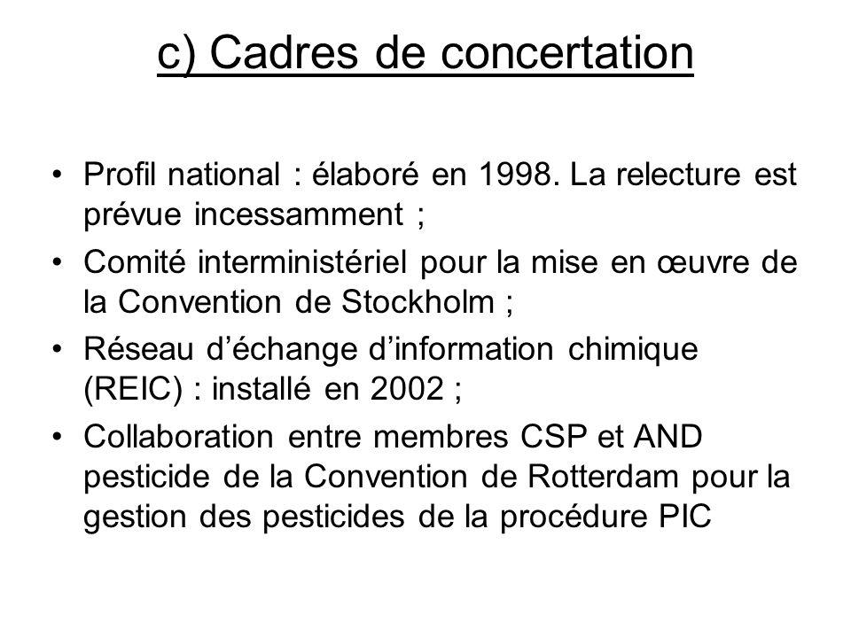 c) Cadres de concertation