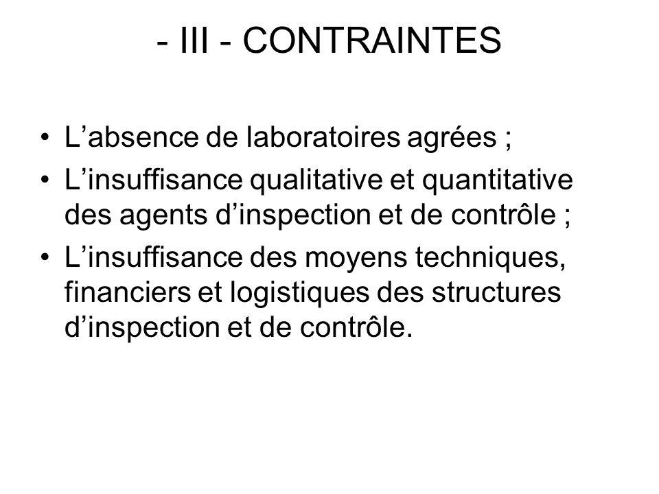 - III - CONTRAINTES L'absence de laboratoires agrées ;