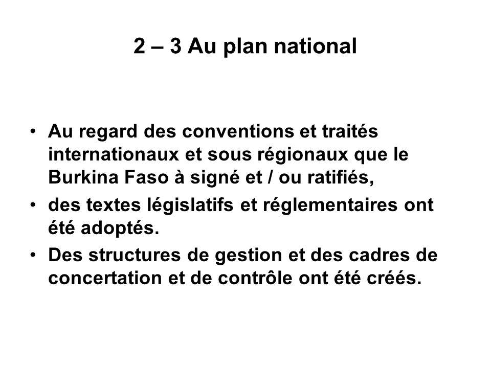 2 – 3 Au plan national Au regard des conventions et traités internationaux et sous régionaux que le Burkina Faso à signé et / ou ratifiés,