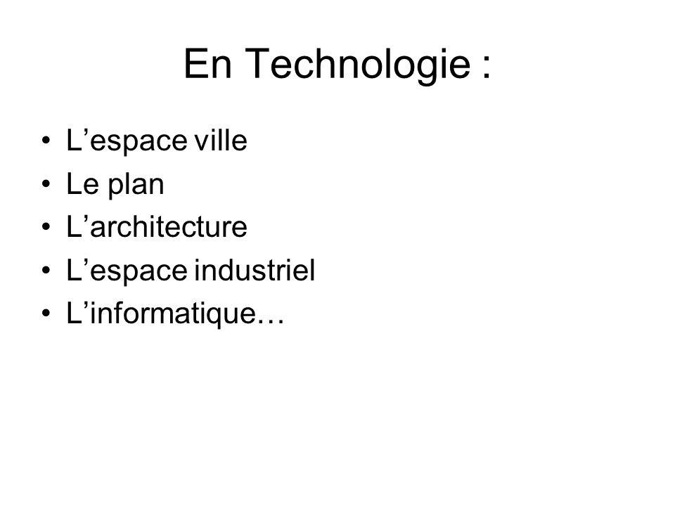 En Technologie : L'espace ville Le plan L'architecture