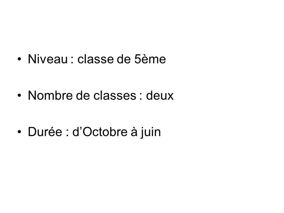 Niveau : classe de 5ème Nombre de classes : deux Durée : d'Octobre à juin