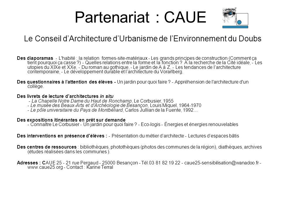 Partenariat : CAUE Le Conseil d'Architecture d'Urbanisme de l'Environnement du Doubs