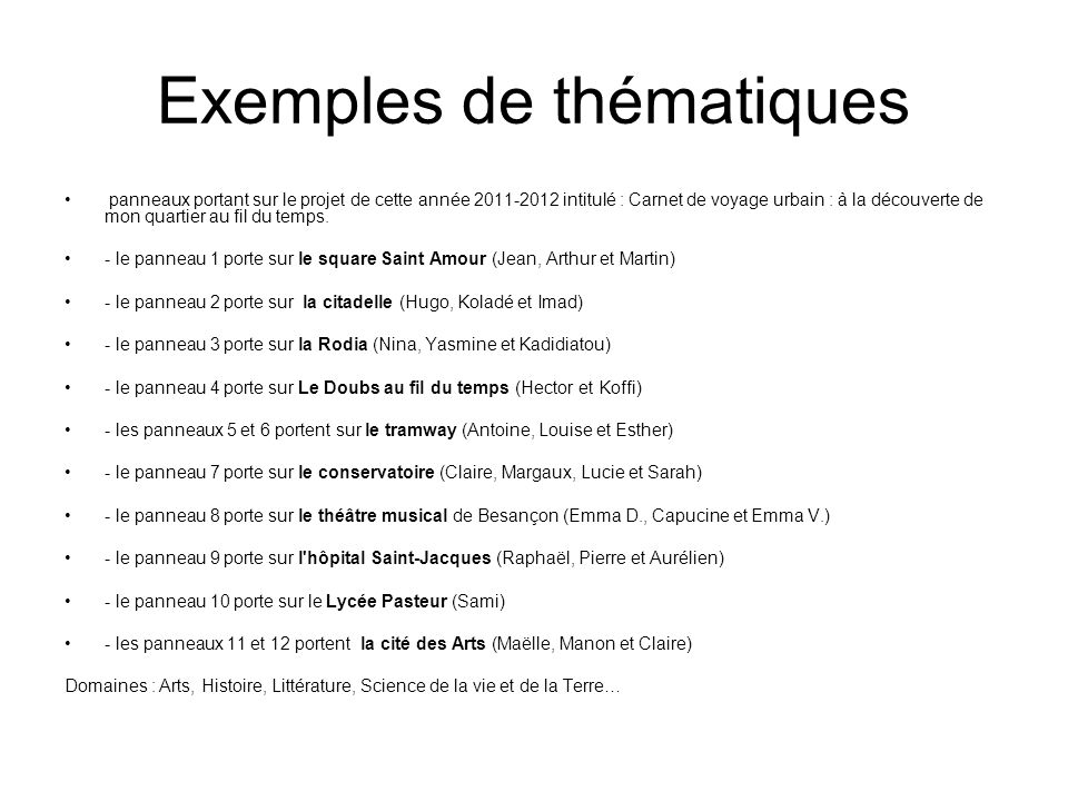 Exemples de thématiques