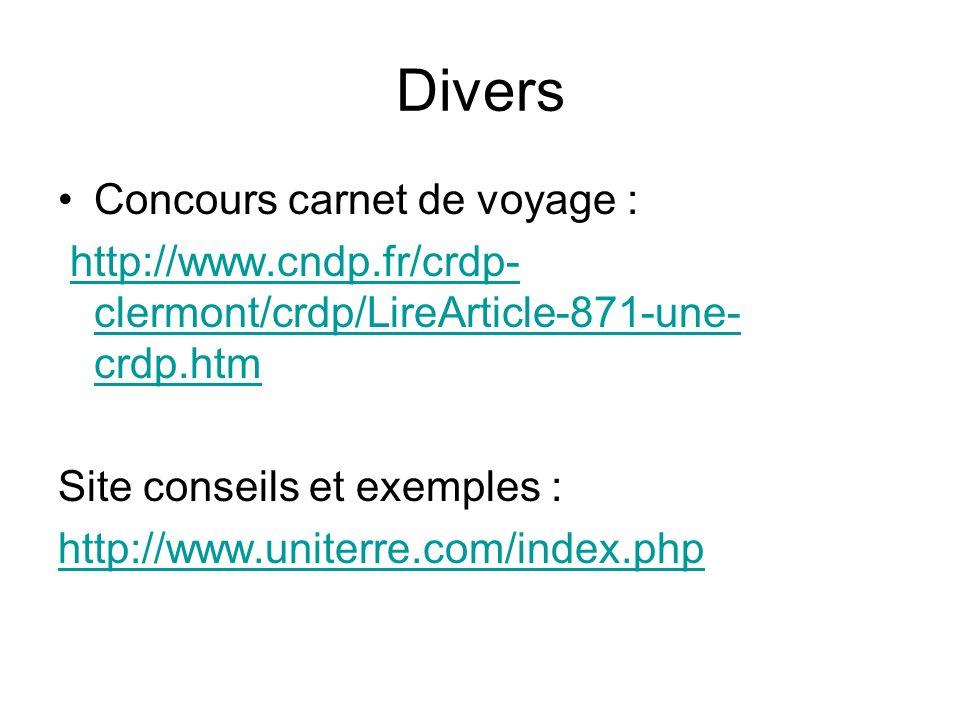 Divers Concours carnet de voyage :