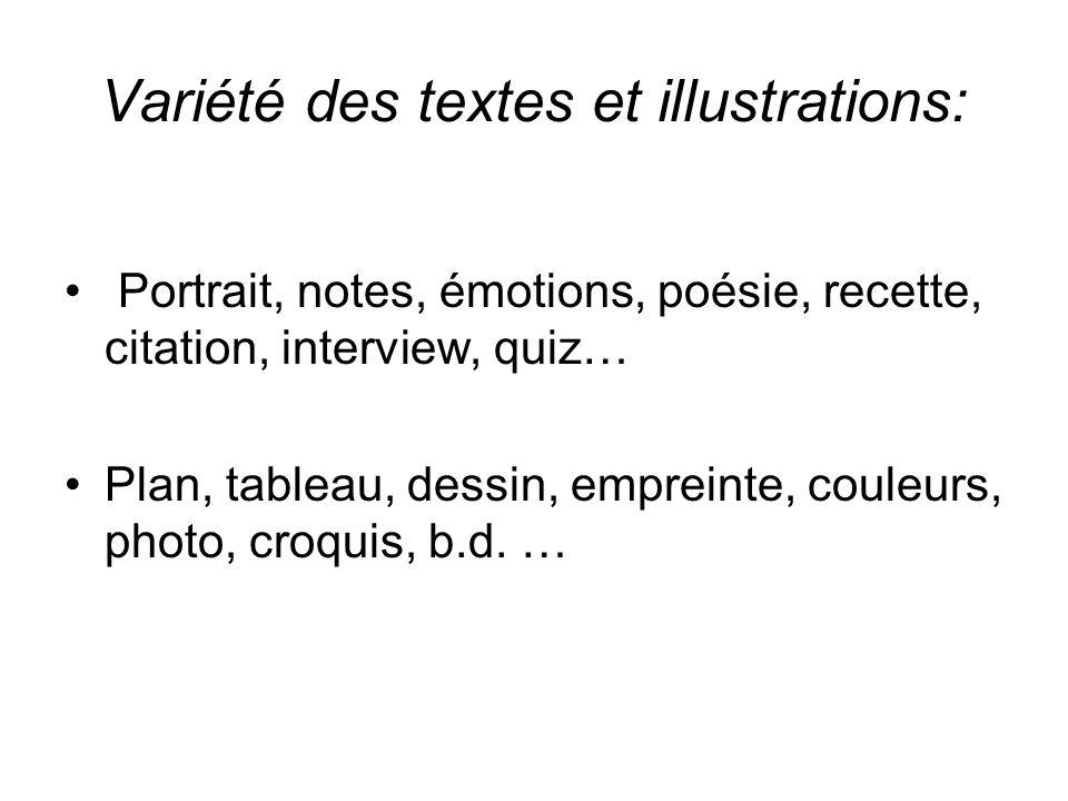 Variété des textes et illustrations:
