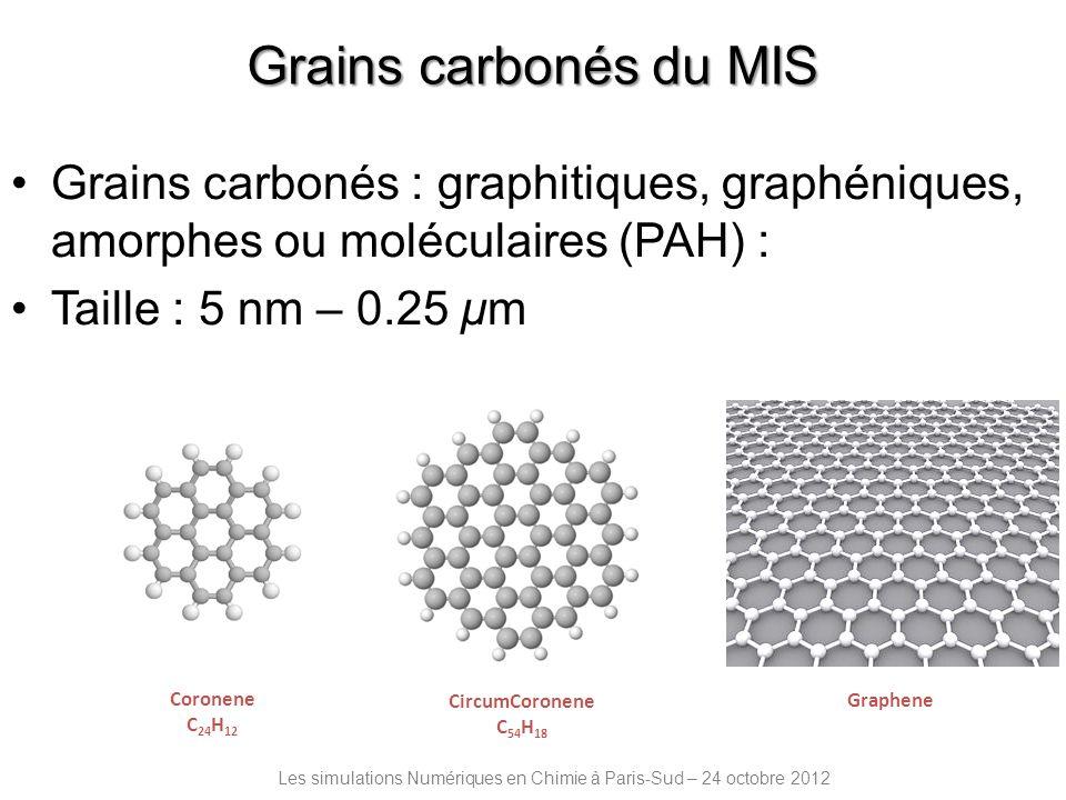 Grains carbonés du MIS Grains carbonés : graphitiques, graphéniques, amorphes ou moléculaires (PAH) :