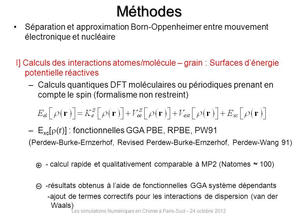 Les simulations Numériques en Chimie à Paris-Sud – 24 octobre 2012