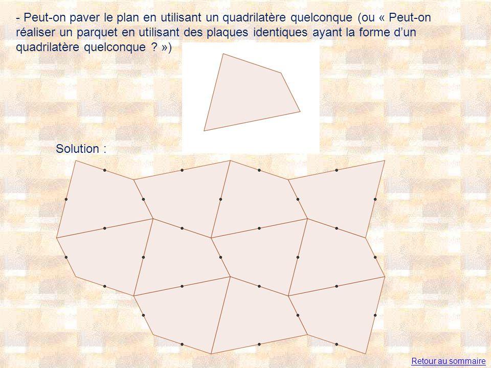 - Peut-on paver le plan en utilisant un quadrilatère quelconque (ou « Peut-on réaliser un parquet en utilisant des plaques identiques ayant la forme d'un quadrilatère quelconque »)