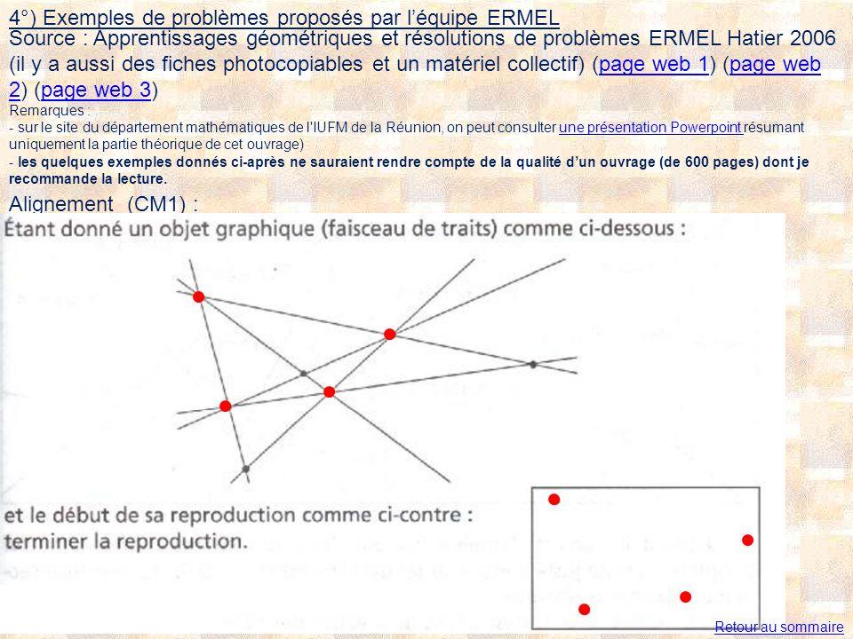 4°) Exemples de problèmes proposés par l'équipe ERMEL