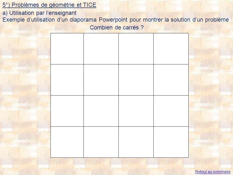 5°) Problèmes de géométrie et TICE a) Utilisation par l'enseignant