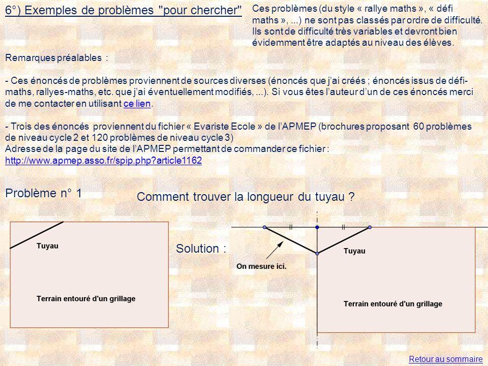 6°) Exemples de problèmes pour chercher