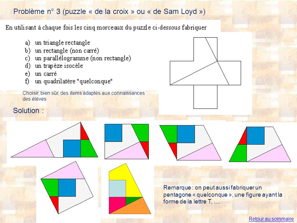 Problème n° 3 (puzzle « de la croix » ou « de Sam Loyd »)