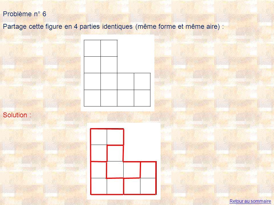 Problème n° 6 Partage cette figure en 4 parties identiques (même forme et même aire) : Solution : Retour au sommaire.