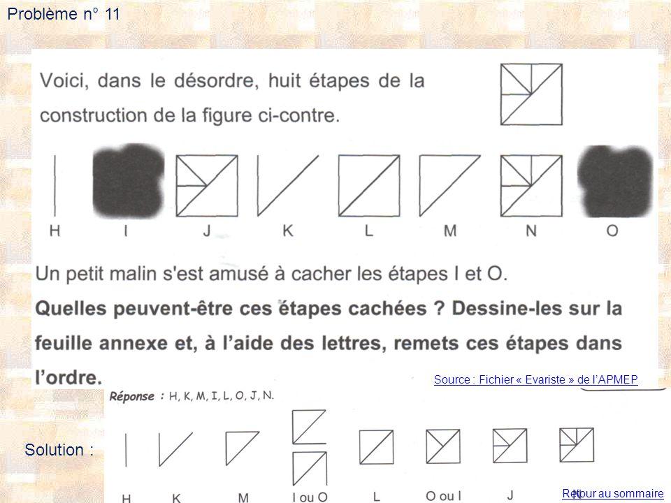 Problème n° 11 Solution : Source : Fichier « Evariste » de l'APMEP