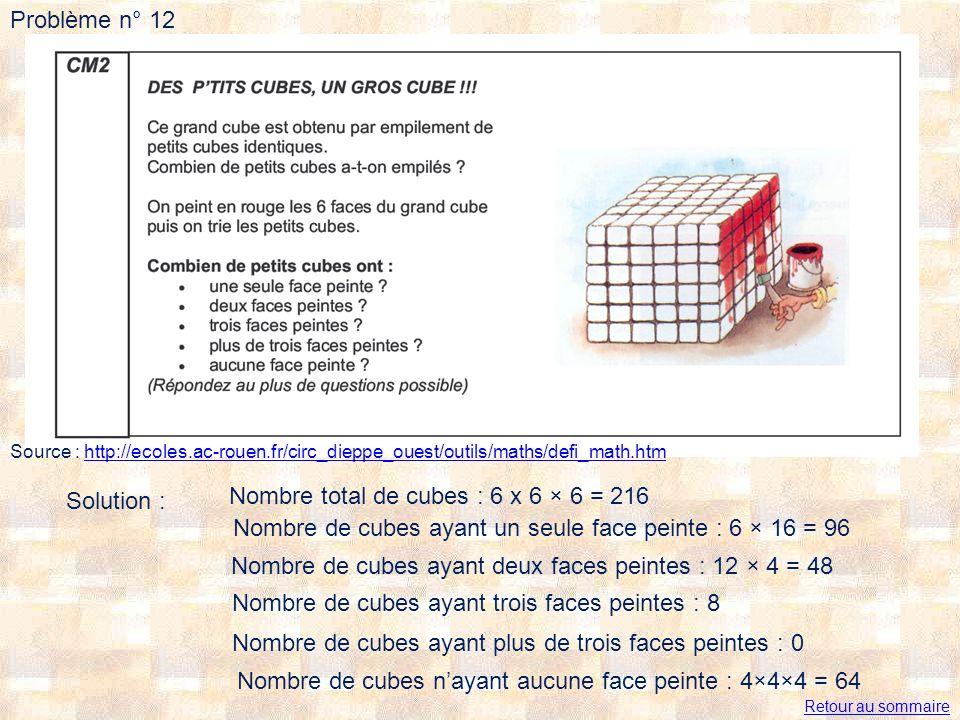 Nombre total de cubes : 6 x 6 × 6 = 216