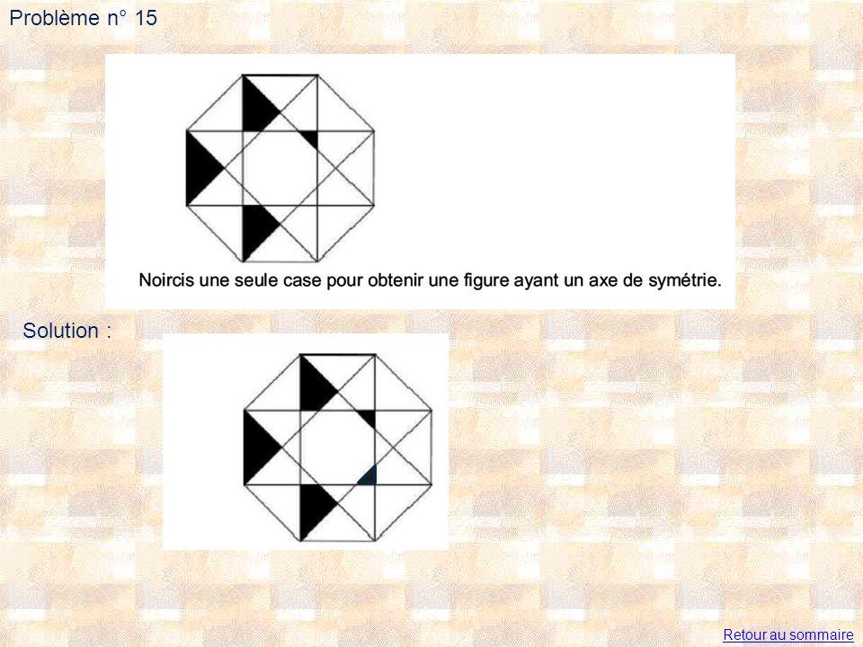 Problème n° 15 Solution : Retour au sommaire