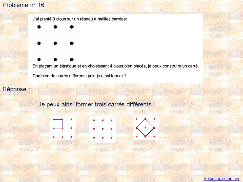 Je peux ainsi former trois carrés différents :