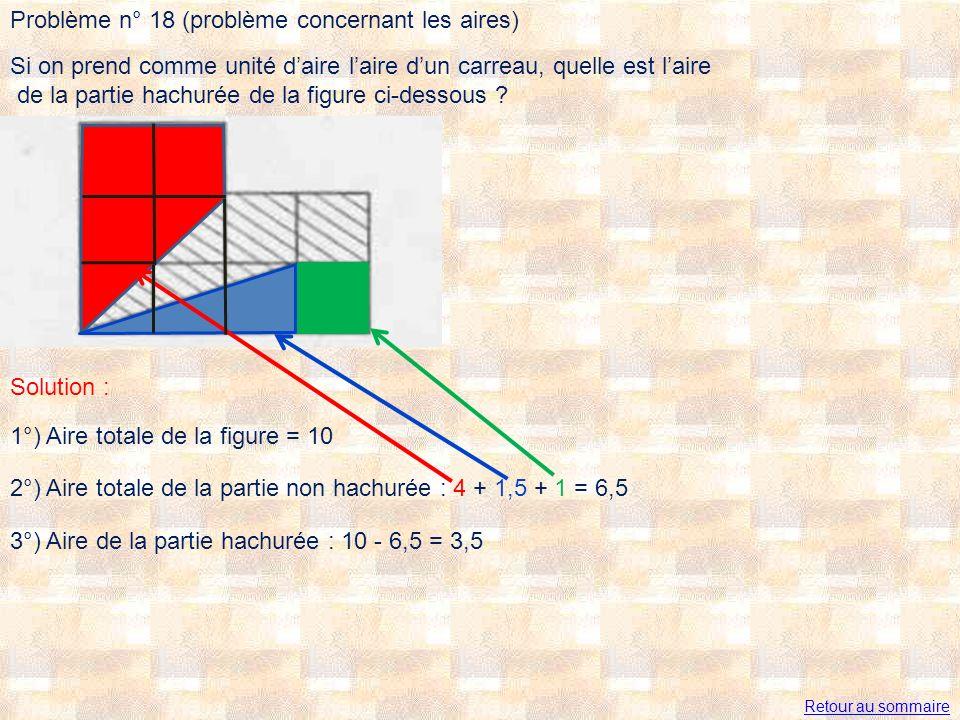 Problème n° 18 (problème concernant les aires)