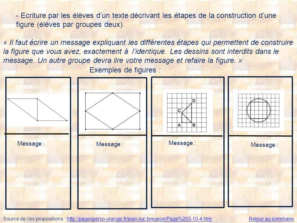 - Ecriture par les élèves d'un texte décrivant les étapes de la construction d'une figure (élèves par groupes deux).