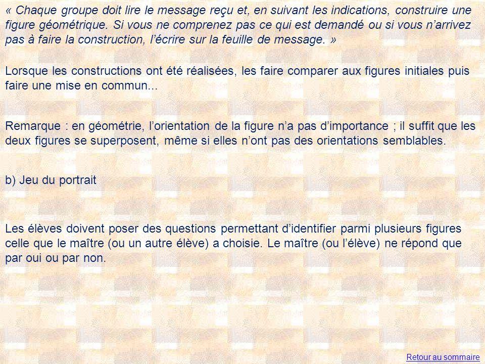 « Chaque groupe doit lire le message reçu et, en suivant les indications, construire une figure géométrique. Si vous ne comprenez pas ce qui est demandé ou si vous n'arrivez pas à faire la construction, l'écrire sur la feuille de message. »