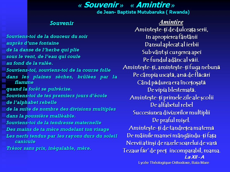 « Souvenir » « Amintire » de Jean- Baptiste Mutubaruka ( Rwanda)