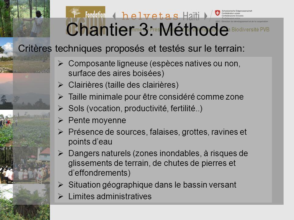 Chantier 3: Méthode Programme de Préservation et de Valorisation de la Biodiversité PVB. Critères techniques proposés et testés sur le terrain: