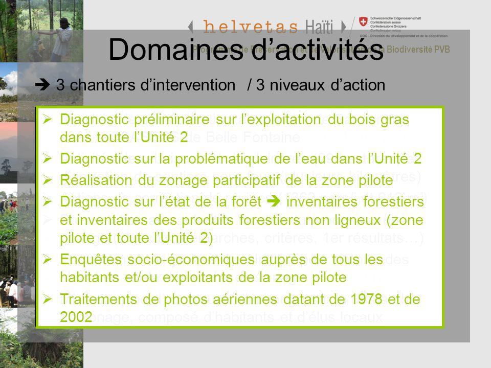 Domaines d'activités  3 chantiers d'intervention / 3 niveaux d'action