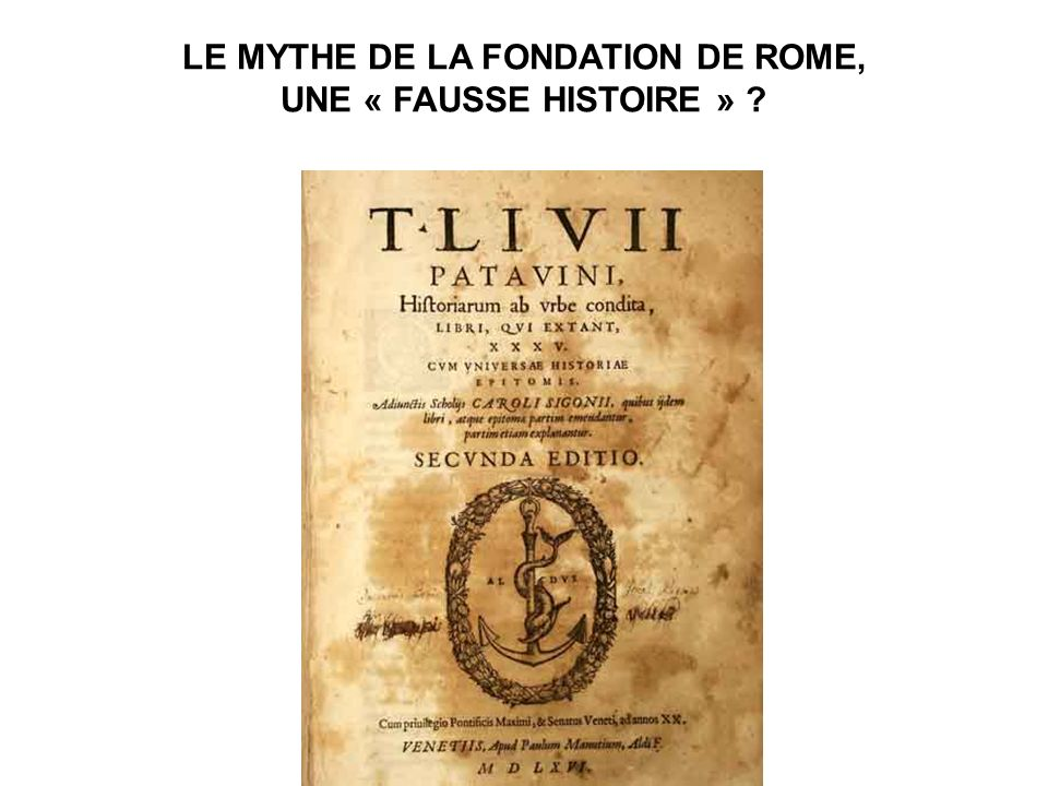 LE MYTHE DE LA FONDATION DE ROME,