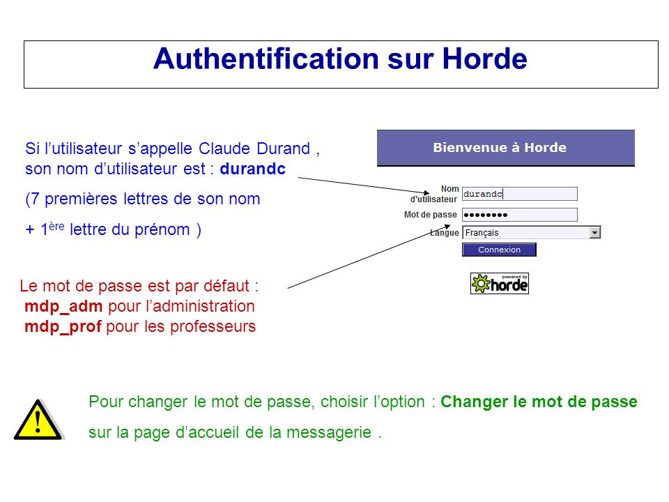 Authentification sur Horde