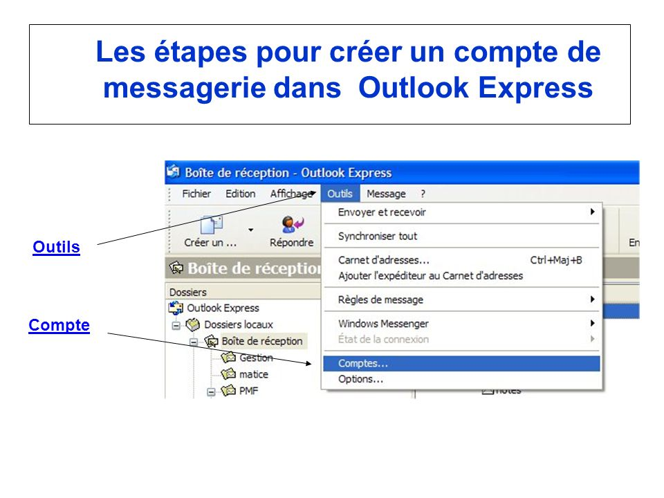 Les étapes pour créer un compte de messagerie dans Outlook Express