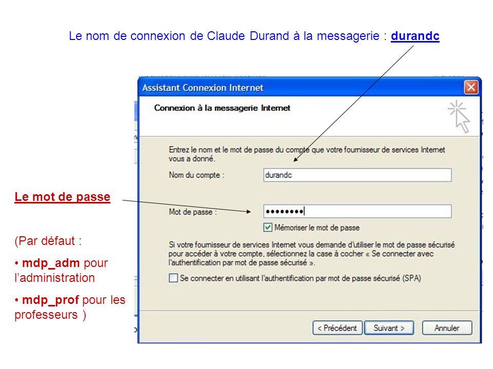 Le nom de connexion de Claude Durand à la messagerie : durandc
