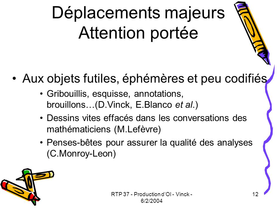 Déplacements majeurs Attention portée