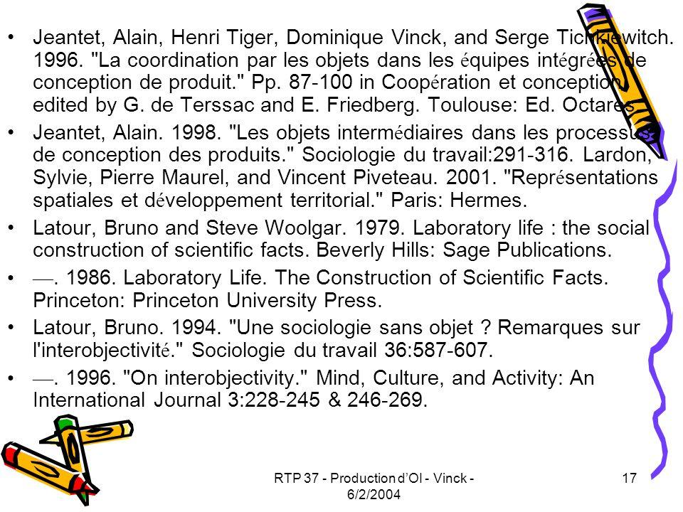 RTP 37 - Production d'OI - Vinck - 6/2/2004