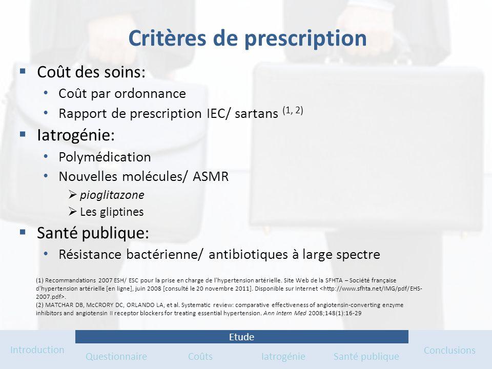 Critères de prescription