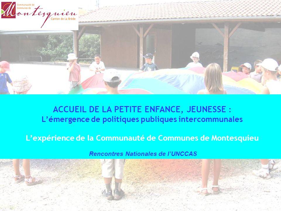 ACCUEIL DE LA PETITE ENFANCE, JEUNESSE : L'émergence de politiques publiques intercommunales L'expérience de la Communauté de Communes de Montesquieu Rencontres Nationales de l'UNCCAS