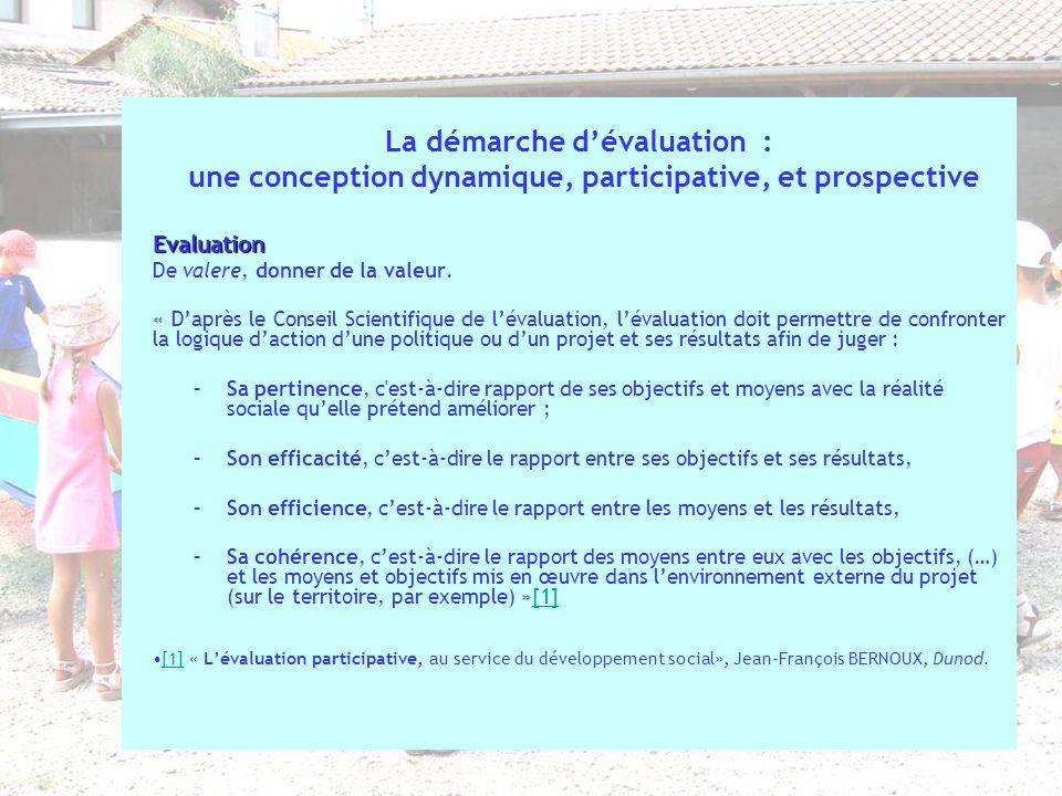 La démarche d'évaluation :