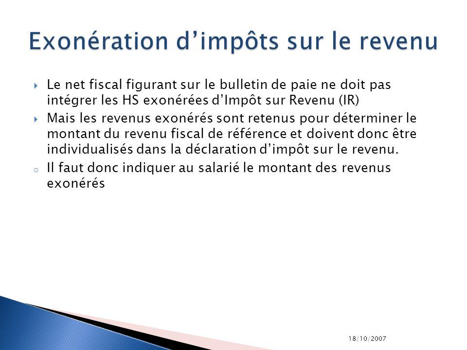 Exonération d'impôts sur le revenu