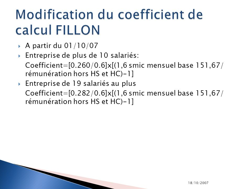 Modification du coefficient de calcul FILLON