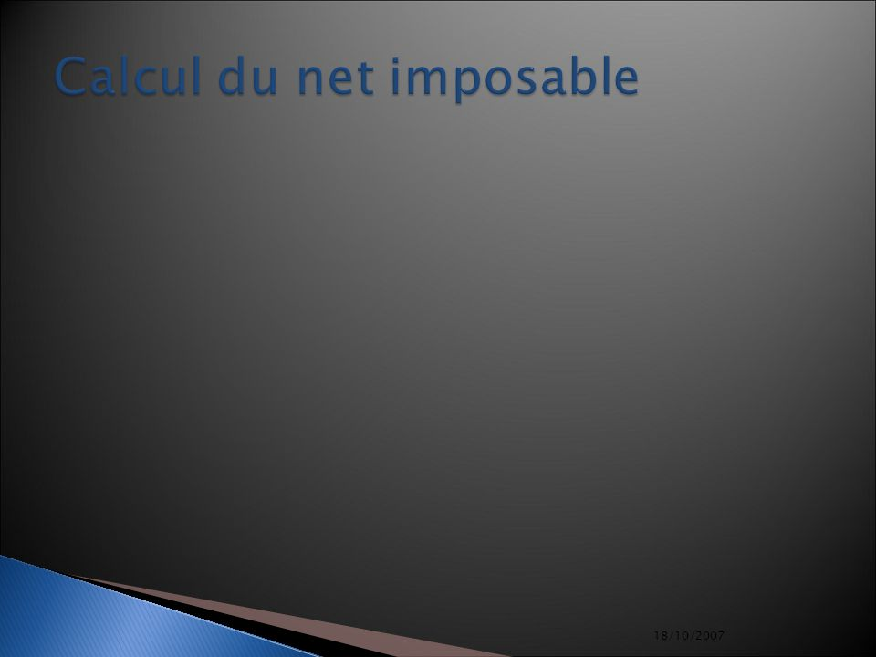 Calcul du net imposable