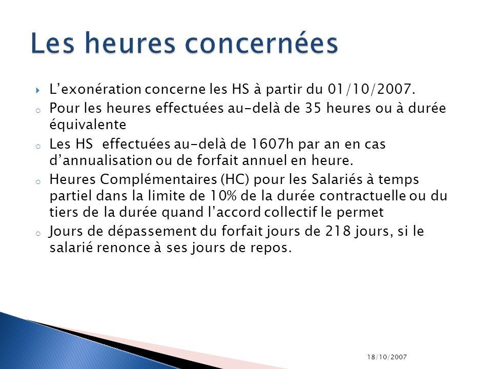 Les heures concernées L'exonération concerne les HS à partir du 01/10/2007. Pour les heures effectuées au-delà de 35 heures ou à durée équivalente.