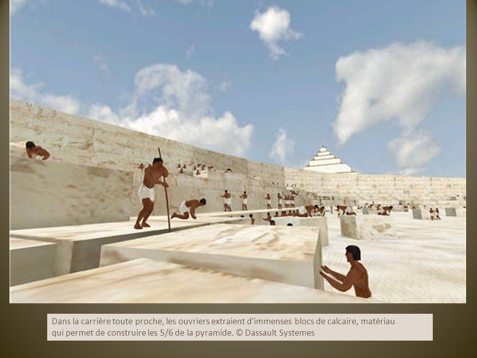 Dans la carrière toute proche, les ouvriers extraient d immenses blocs de calcaire, matériau