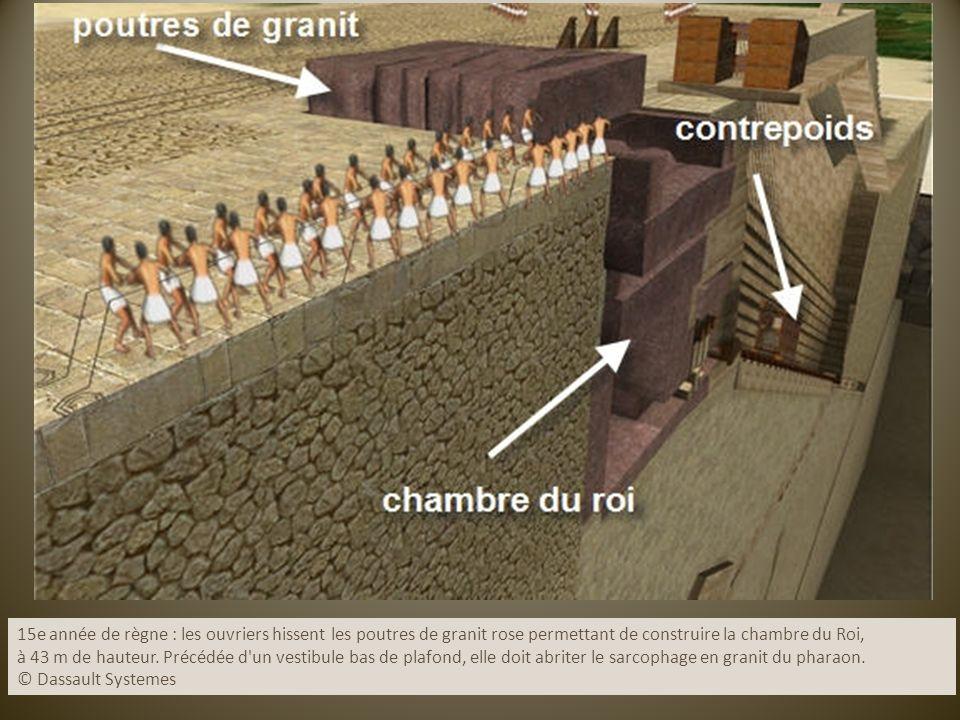 15e année de règne : les ouvriers hissent les poutres de granit rose permettant de construire la chambre du Roi,