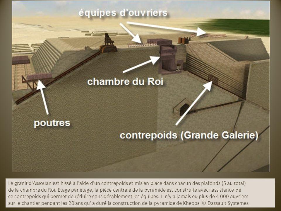 Le granit d Assouan est hissé à l aide d un contrepoids et mis en place dans chacun des plafonds (5 au total)