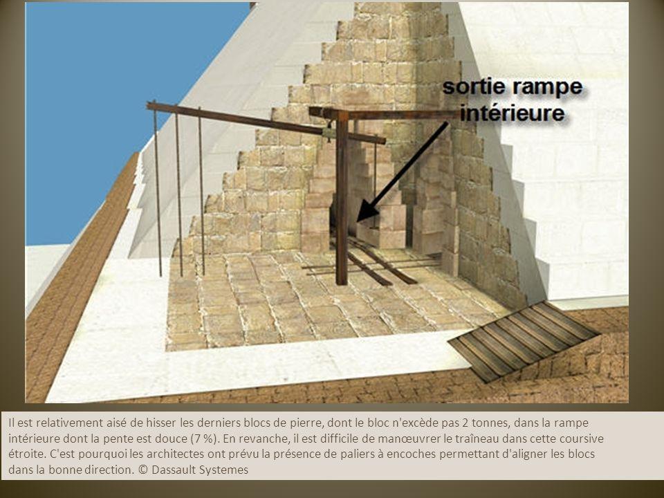Il est relativement aisé de hisser les derniers blocs de pierre, dont le bloc n excède pas 2 tonnes, dans la rampe