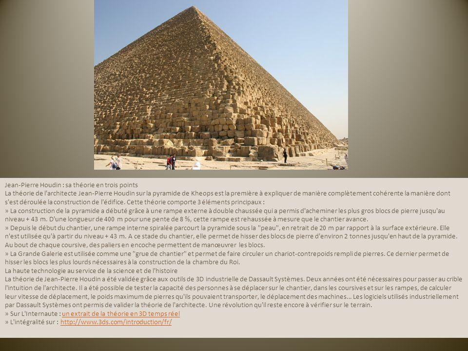 Jean-Pierre Houdin : sa théorie en trois points La théorie de l architecte Jean-Pierre Houdin sur la pyramide de Kheops est la première à expliquer de manière complètement cohérente la manière dont s est déroulée la construction de l édifice.