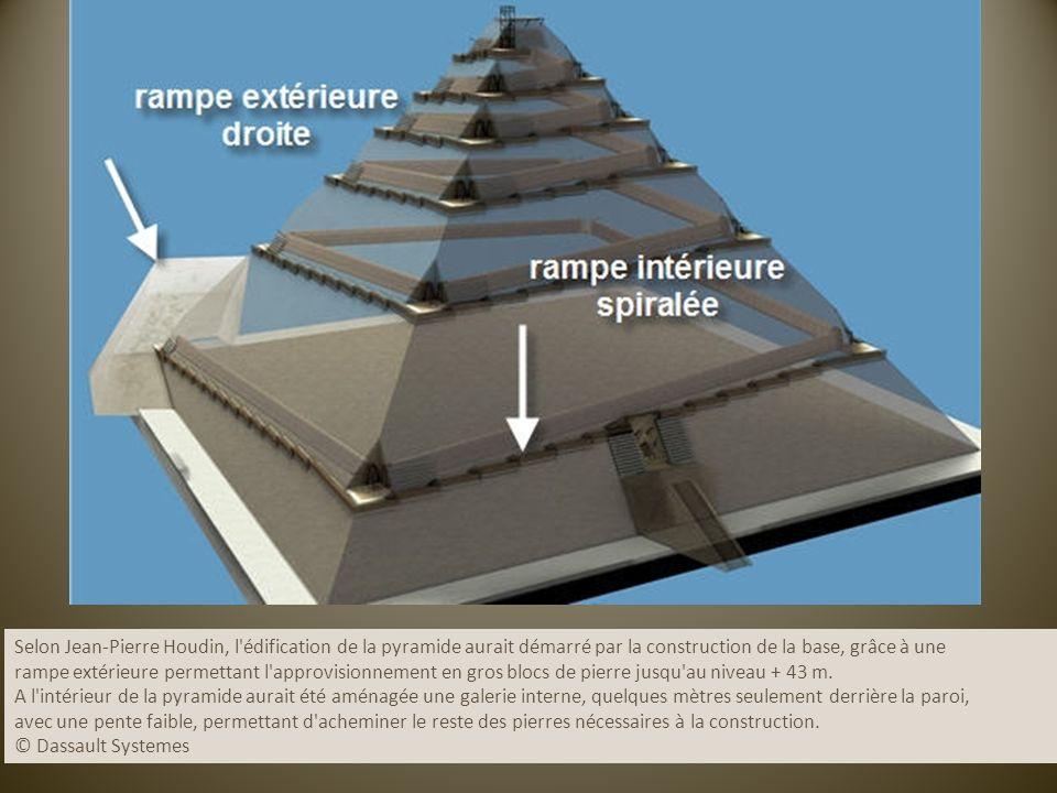 Selon Jean-Pierre Houdin, l édification de la pyramide aurait démarré par la construction de la base, grâce à une