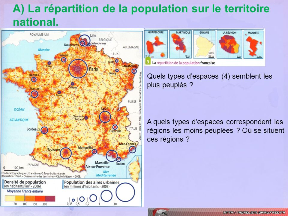 A) La répartition de la population sur le territoire national.